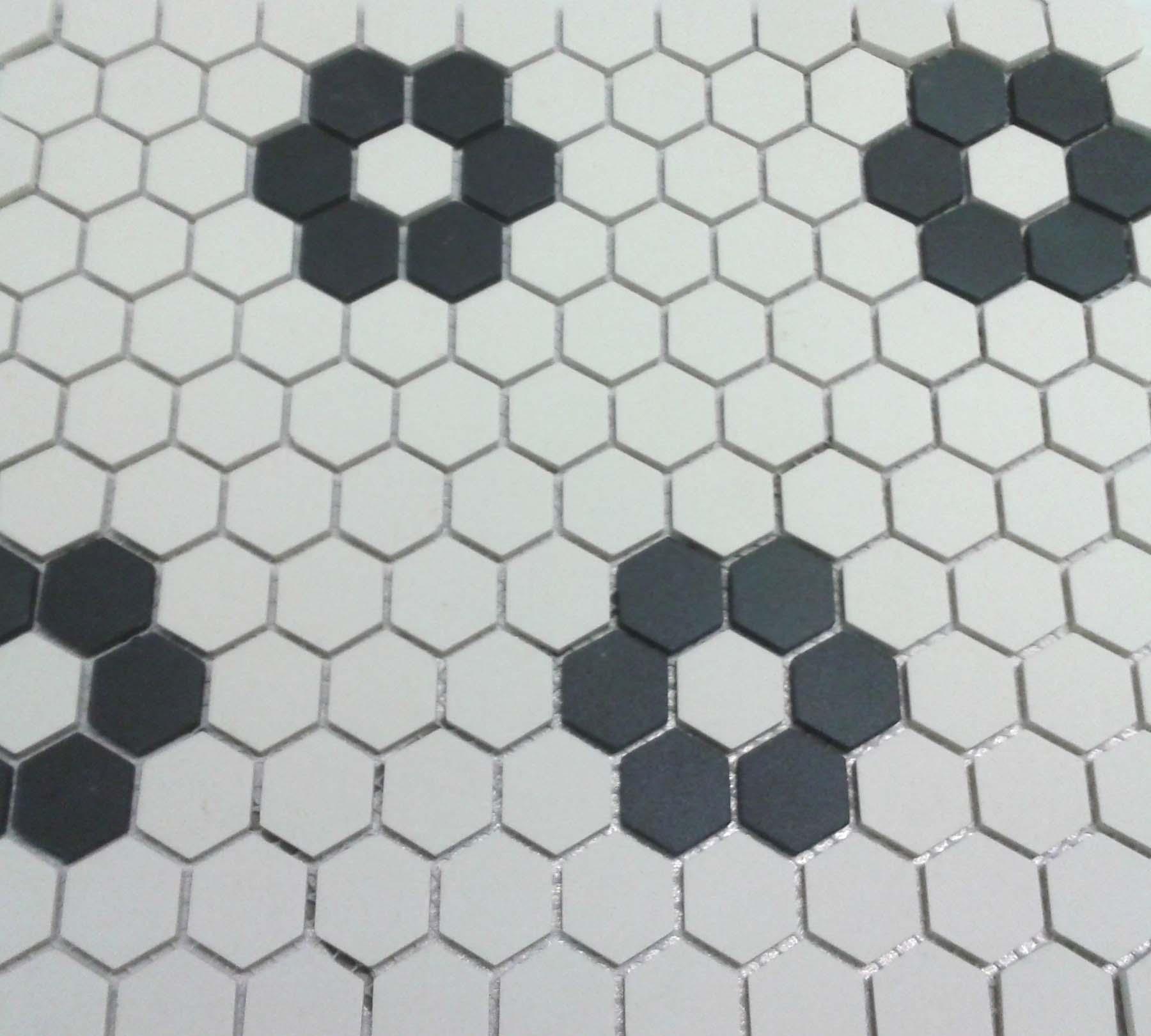 Metro Vintage Matte White Hexagon Porcelain Mosaic 1 Inch Patterned Floor Tiles Patterned Bathroom Tiles Honeycomb Tile Floor