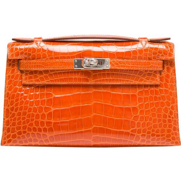 cdf2479c02125 Pre-Owned Hermes Orange H Shiny Alligator Mini Kelly Pochette featuring  polyvore women s fashion bags handbags clutches hermes orange mini purse  mini ...