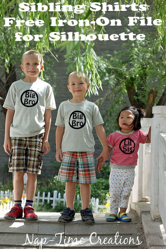 sibling t-shirts with free iron on file design for Silhouette craft cutters from Nap-Time Creations: