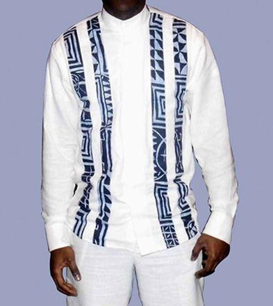 chemise homme longue manche en lin blanc et tissu pagne africain ...