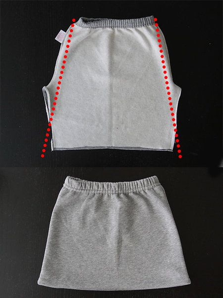 how to refashion sweatpants into a cute kangaroo pocket skirt - easy sewing tutorial