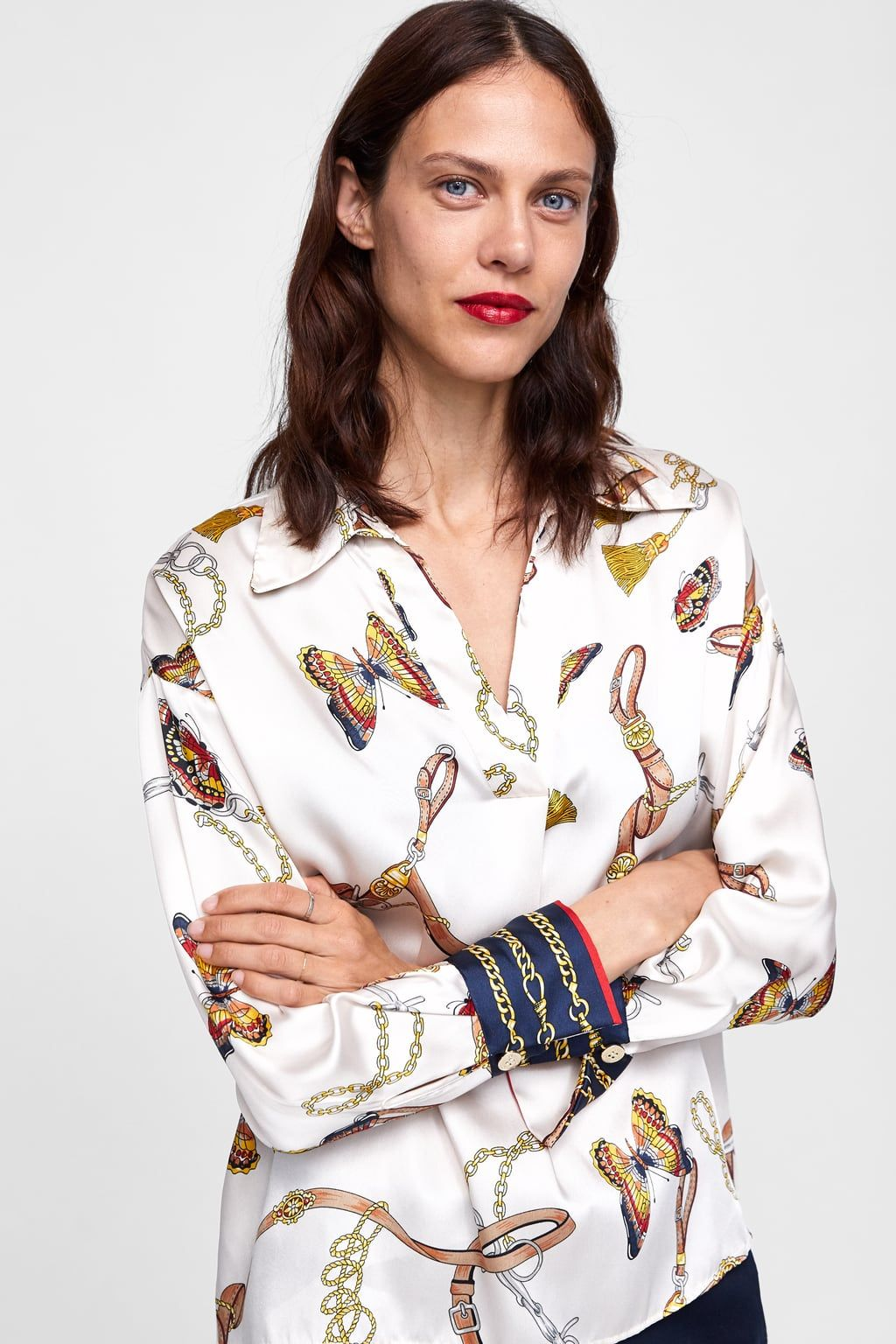 28c4a0eec37fef Image 2 of CHAIN PRINT BLOUSE from Zara