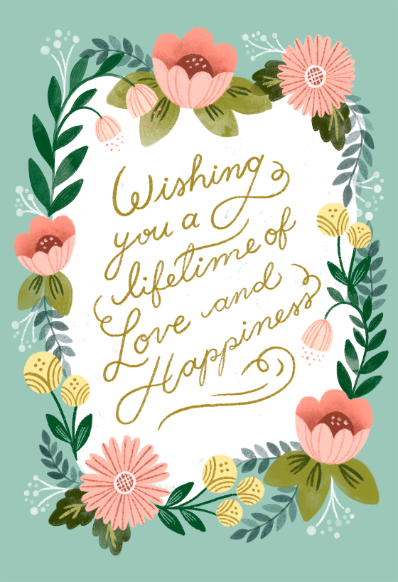 Love And Happiness Free Wedding Congratulations Card Greetings Island Wedding Congratulations Card Wedding Congratulations Wishes Wedding Congratulations