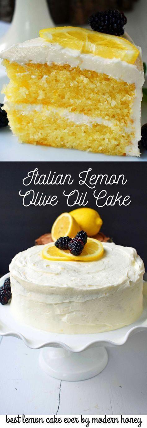 Italian Lemon Olive Oil Cake with Lemon Vanilla Cream Cheese Frosting is the best lemon cake recipe. Moist and tender lemon cake every single time. #lemoncake #lemoncreamcheesefrosting