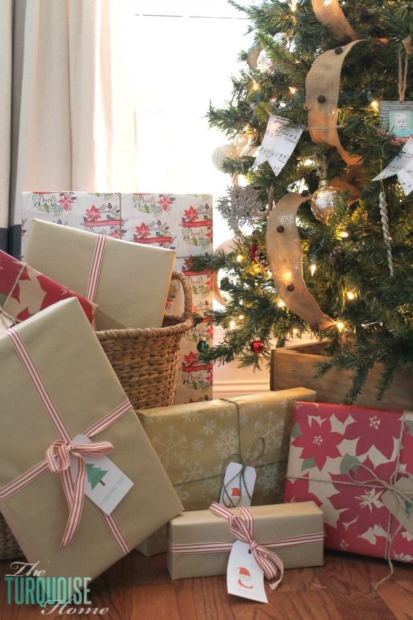 Rustic Glam Christmas Tree | Rustic Wrapped Christmas Gifts with ...