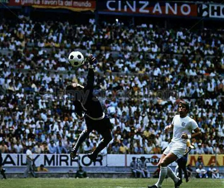 Brazil 1 England 0 in 1970 in Guadalajara. Geoff Hurst's shot goes just wide in Group 3 at the World Cup Finals.