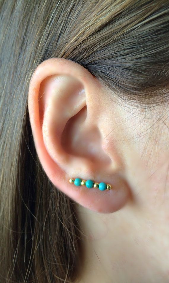 Gold And Turquoise Earrings Boho Ear Climber