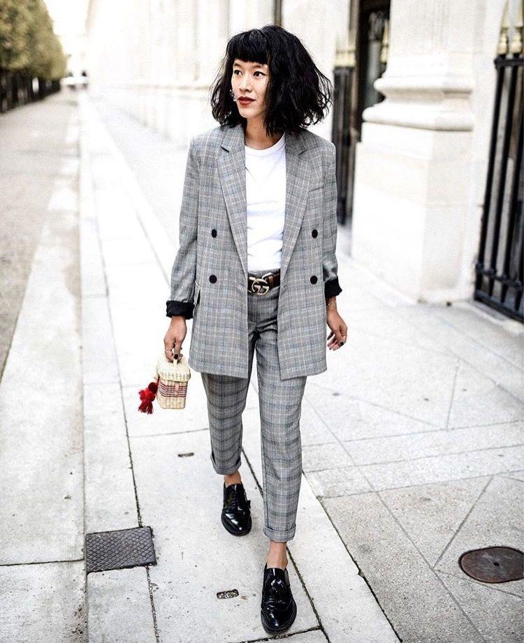 Plaid Pants Suit Womens