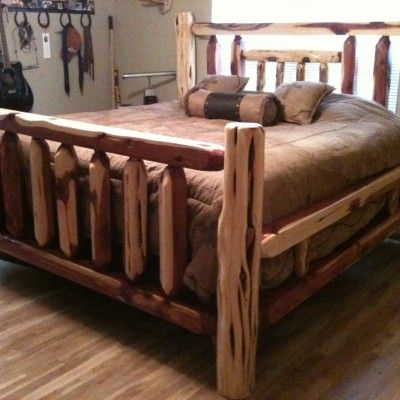 Cedar Bed Frame. Cut some cedars down and want to make this for one ...