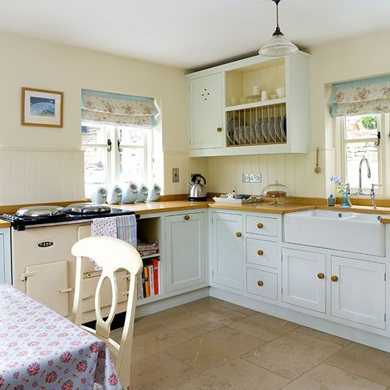 Classic Pale Blue And Cream Country Kitchen