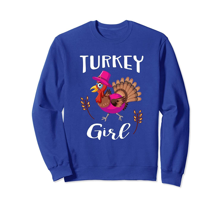Pink Turkey Thanksgiving Gift Trot Gobble For Girls Womens Sweatshirt