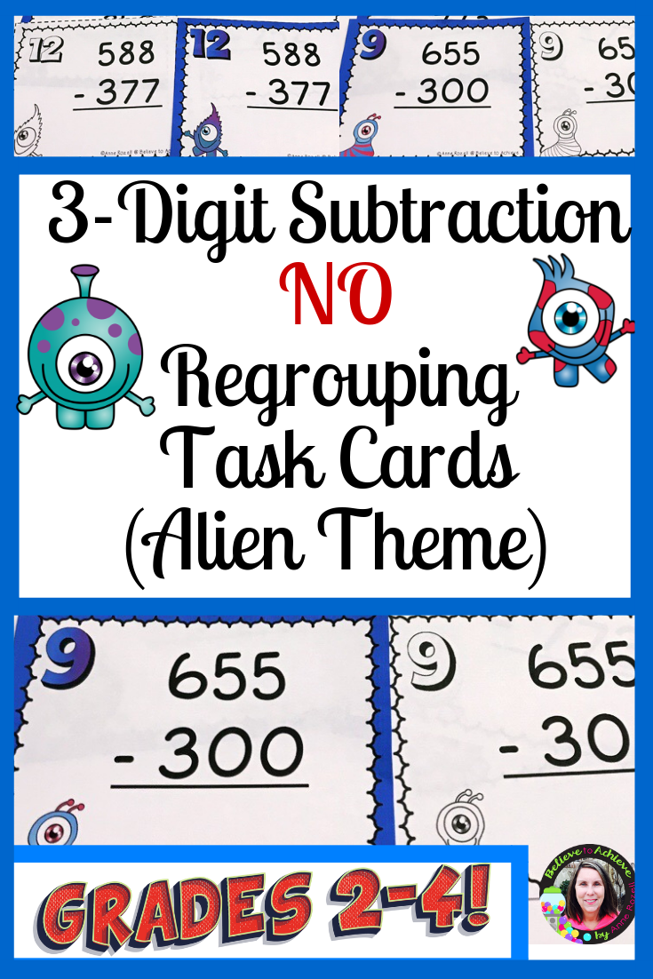 3Digit Subtraction NO Regrouping Task Cards Alien Theme