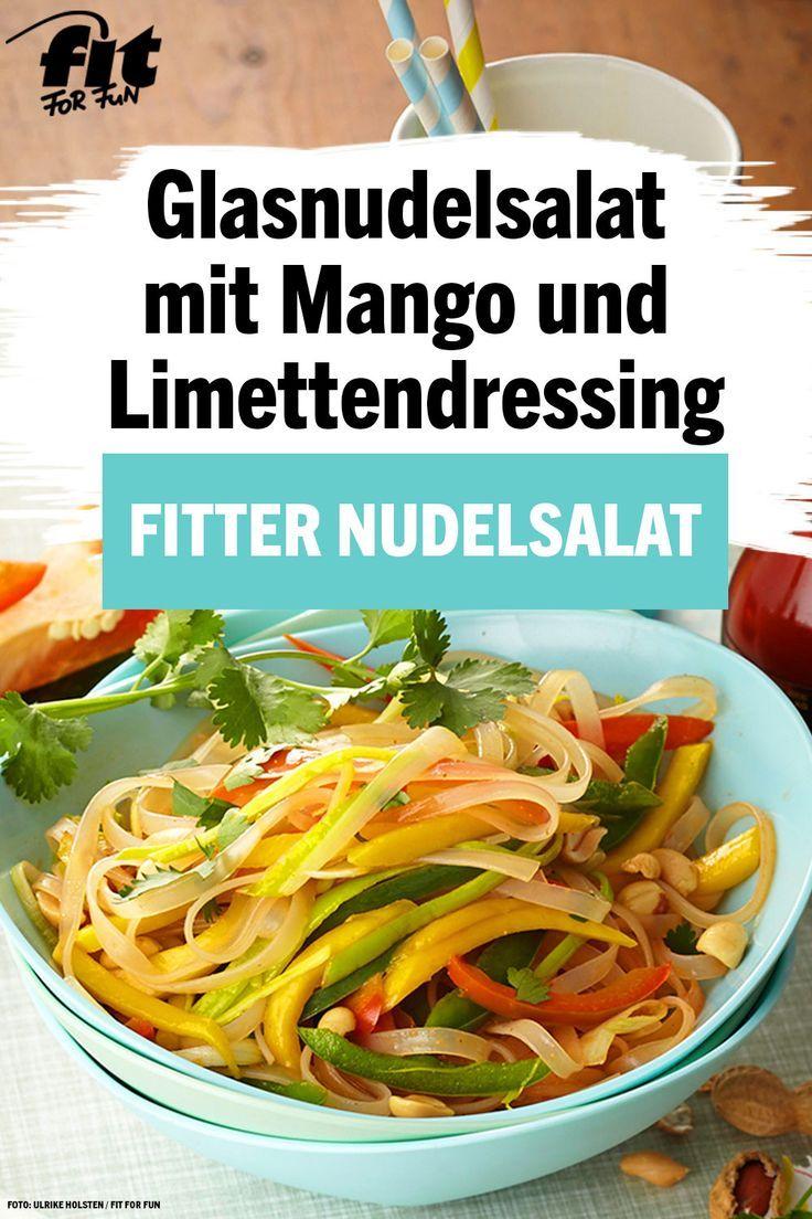 Salade de nouilles en verre avec vinaigrette à la mangue et au citron vert épicée   - Leichte Nudelsalat Rezepte -