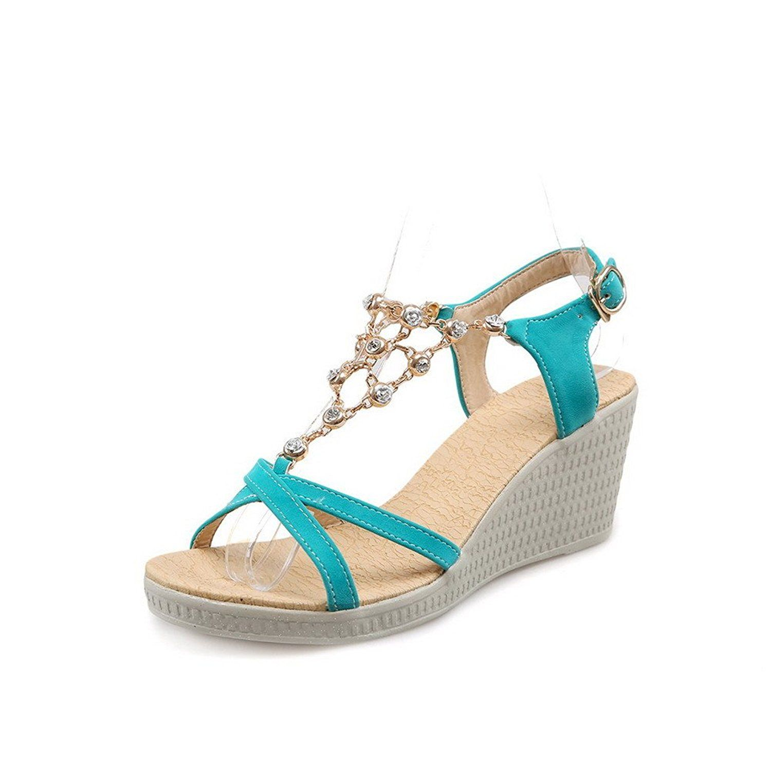 WeenFashion Women's Open Toe Buckle Pu Solid Kitten Heels Wedges-Sandals *** For more information, visit image link.