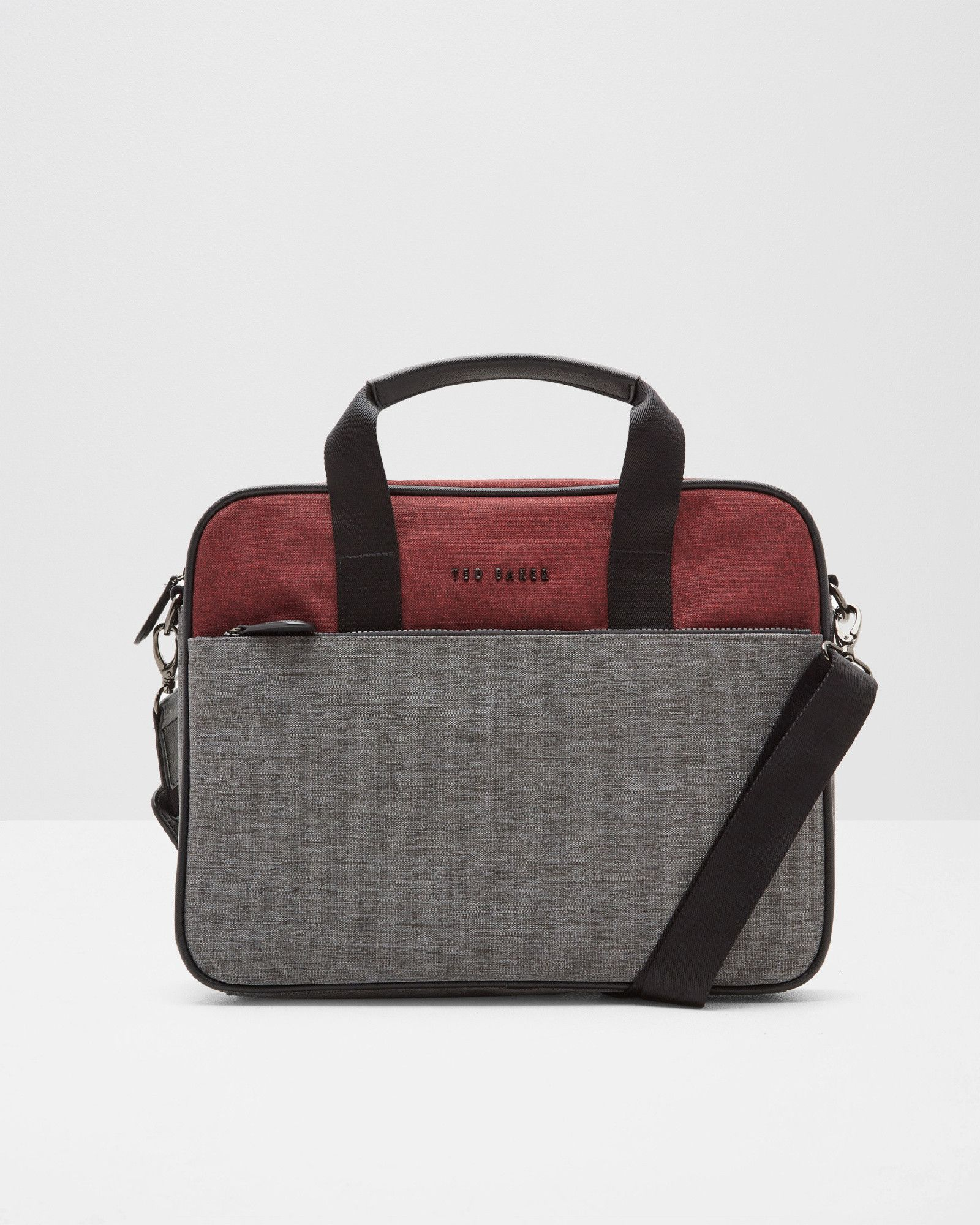 Two-tone document bag in red and grey by Ted Baker | Accessories ...