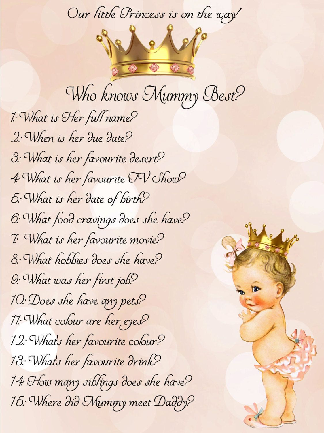 who knows mum best, princess,Girl,Baby Shower Ideas,Printable,Baby Shower  Games,Mummy,Mommy,princess baby shower,little princess,Baby Shower by ...
