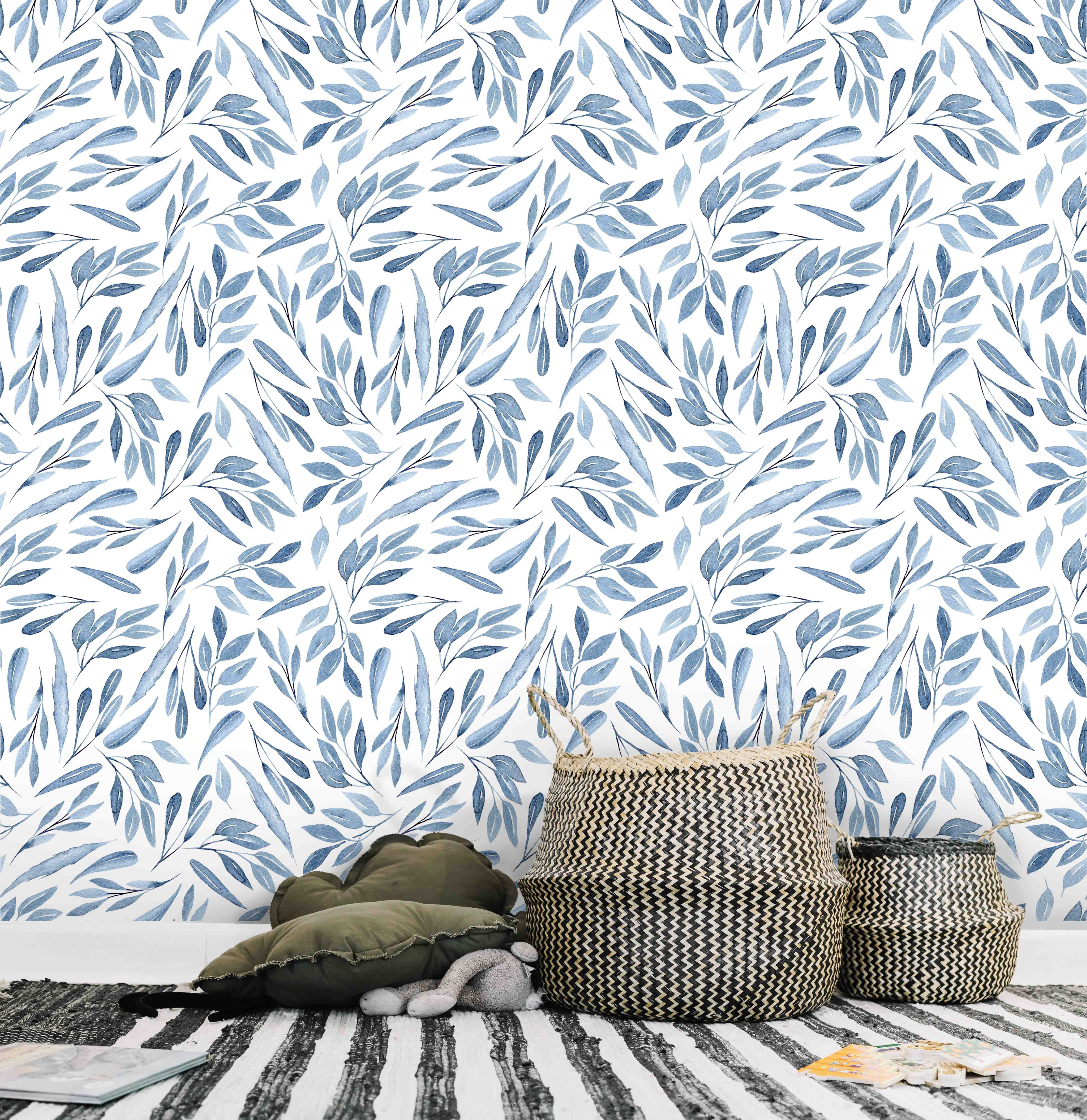 Blue Leaves Pattern Wallpaper Nature Lover Wallcovering Blue Wallpaper By Green Planet Print Leaf Wallpaper Special Wallpaper Wallpaper Roll How to measure how much wallpaper you