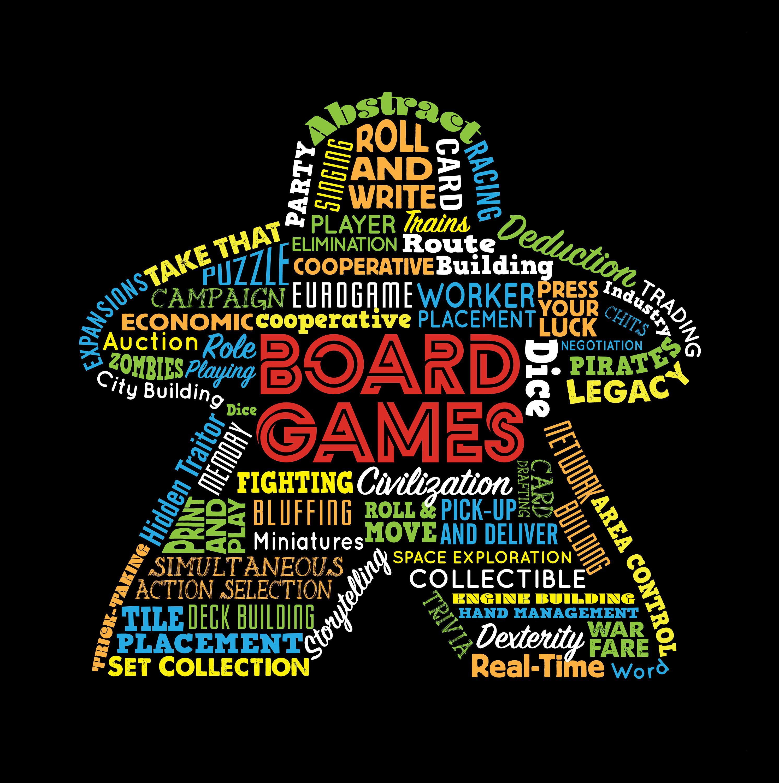 Board Game Mechanics Meeple Types of Board Games Tshirt