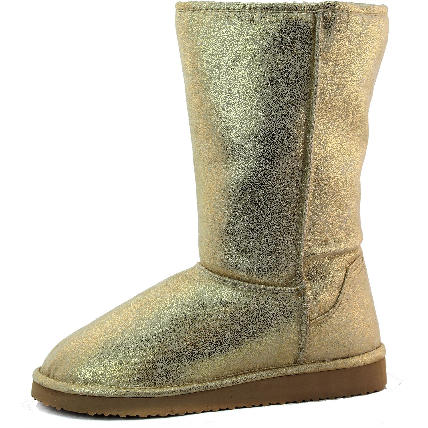 Save 10% + Free Shipping Offer *   Coupon Code: Pinterest10 Material: Man Made Material Brand: Soda Footwear Product Code: Song-S Gold Color Keep your feet warm in these man made material causal winter boots, featuring comforle flat heel for easy wear. Slip on like a pair of socks. Women's Soda Song-S Gold Metallic Warm Flat Heel Boots