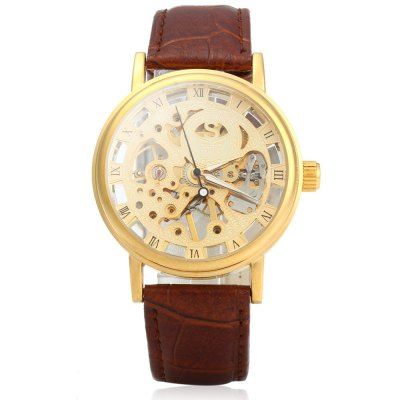 SEWOR Men Hollow Mechanical Watch with Leather Strap #shoes, #jewelry, #women, #men, #hats