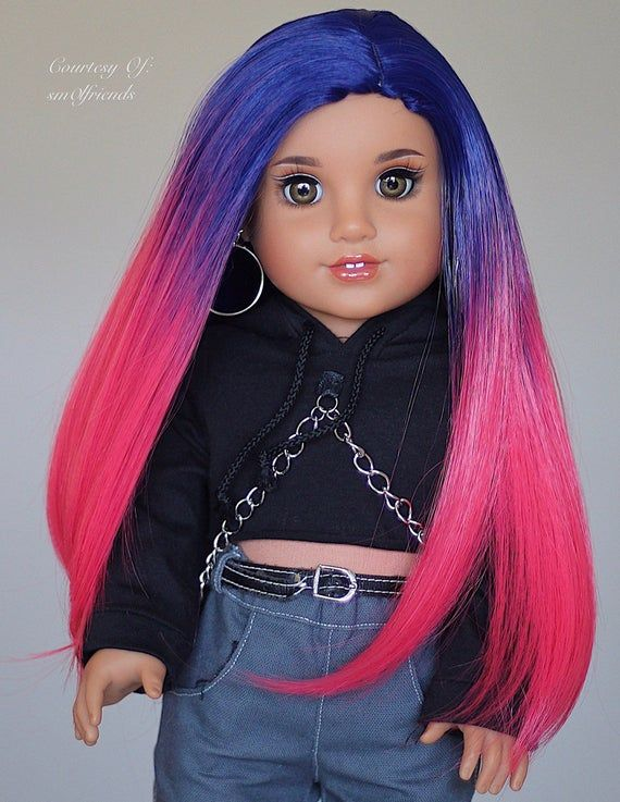 Custom DYED OMBRE Doll Wig for 18 American Girl Doll Heat Safe Tangle Resistant - fits 10-11.5 head size of all 18 dolls #americangirldollcrafts