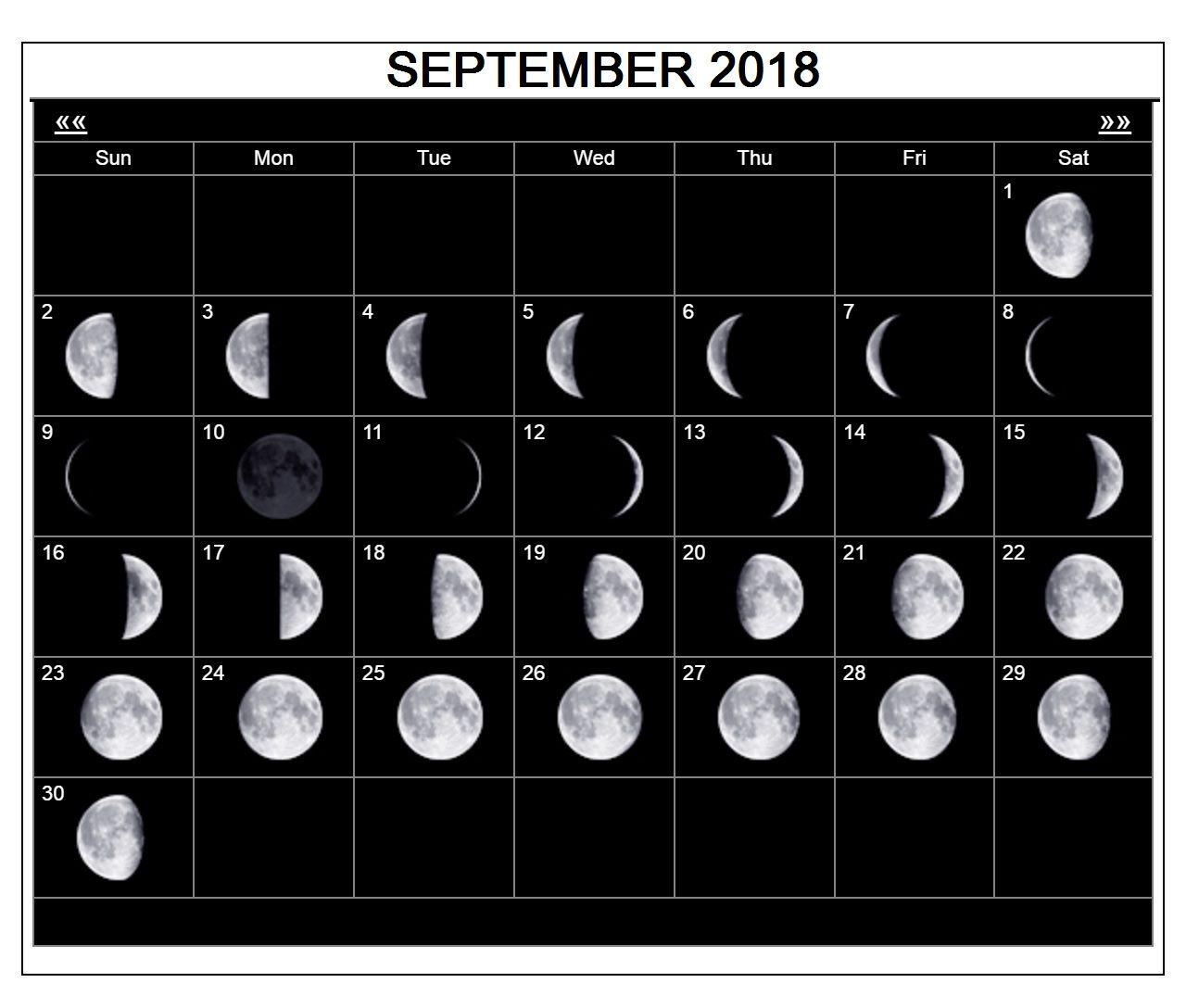 September 2018 Calendar Moon Phases Moon Phase Calendar Moon