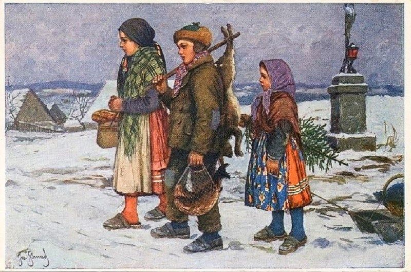 in history  old czech christmas cards  postcards  archiv