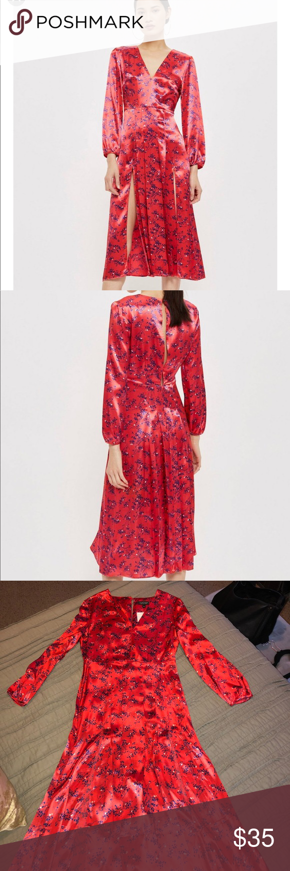 """7ecc3ff3a250 TOPSHOP Wispy Floral Print Midi Dress Floral print midi dress with satiny  sheen. V neck top with pleated side slit skirt. 48"""" length."""