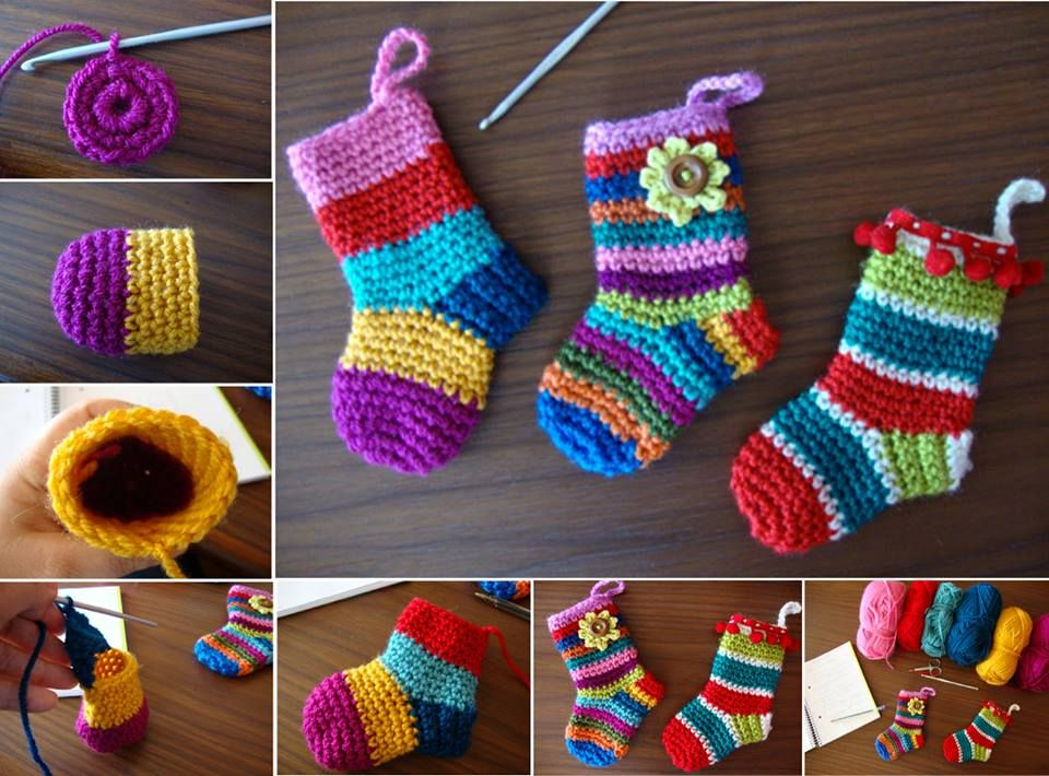 DIY Crochet Christmas Socks with Free Pattern | Häkeln | Pinterest ...