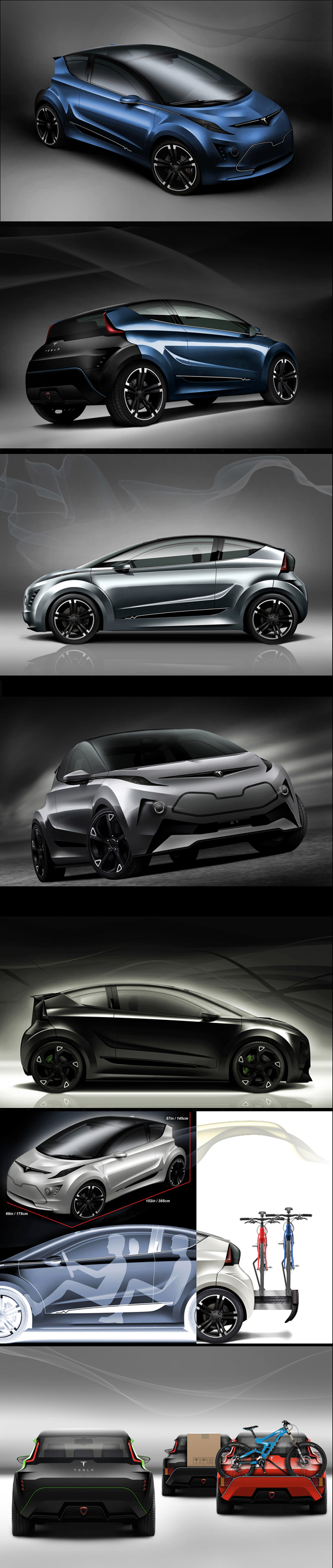 Tesla C, electric-powered city car/hot hatch concept design