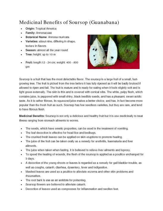 what is the nutritional value of soursop