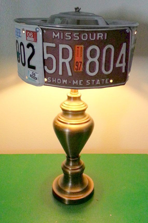 Vintage License Plate Light Table Lamp & Shade Man Cave ...