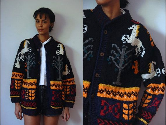Vtg Horses Winter Print Chunky Knit Buttoned by LuluTresors, $32.99