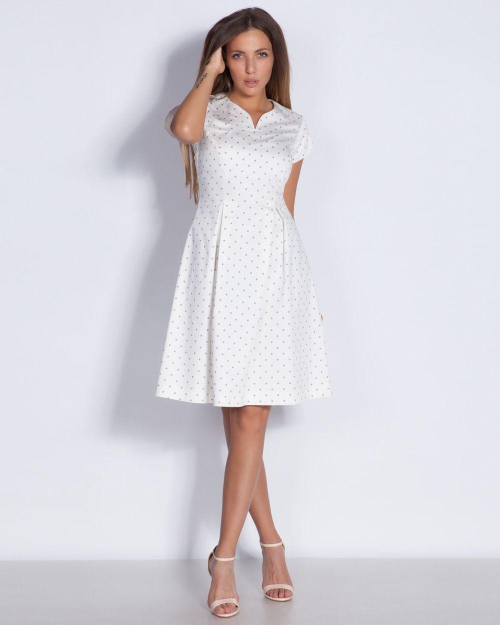 5e1897d98ba Дамска рокля в бяло на точици - Cuba #онлайн #пазаруване #дрехи #рокля # разкроена #късръкав #бяла #черниточки