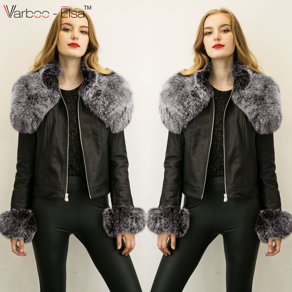 6bb89283f061 Find More Leather   Suede Information about VARBOO ELSA Fake fur collar  Parka down leather jacket 2016 Winter Jacket Women leather Coats Lady Cloth  Female ...