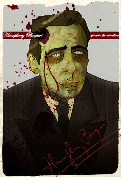 Humphrey Bogart  >pen drawning, color digital