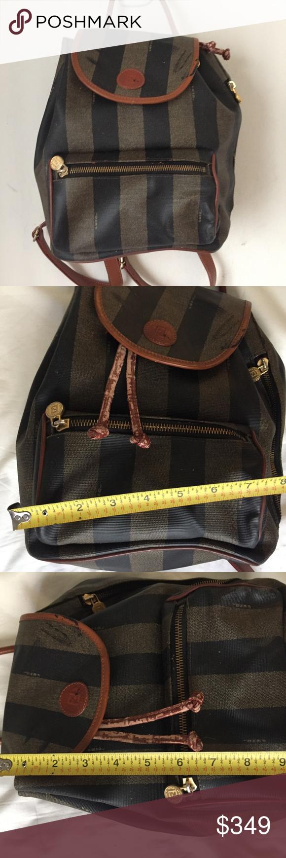 FENDI Vintage Signature Stripe Back Pack Vintage FENDI Back pack signature  stripe Black  Olive  3aef3877bf96e