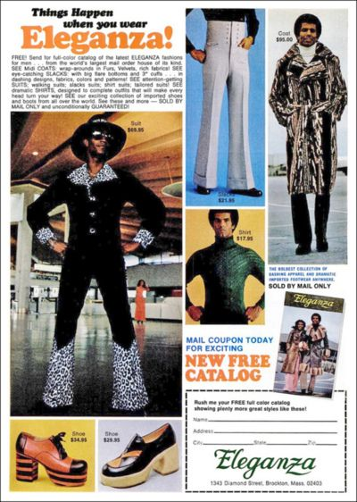 Eleganza - mail-order fashions for the busy pimp | Fabrics ...