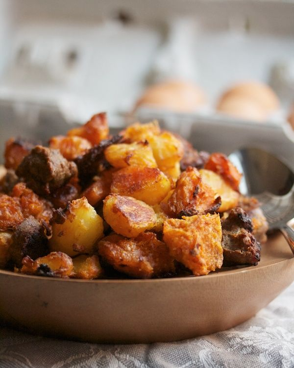 Sweet Potato & Andouille Hash Browns