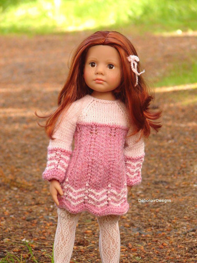 OOAK HandKnitted Dress for Gotz HappyKidz & GotzHannah dolls by Debonair Designs #DebonairDesigns #ClothingAccessories