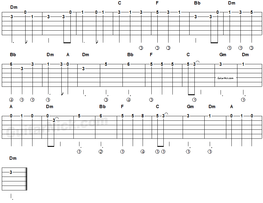 Pirates Of The Caribbean Easy Guitar Tablature 2 Gutair Tabs