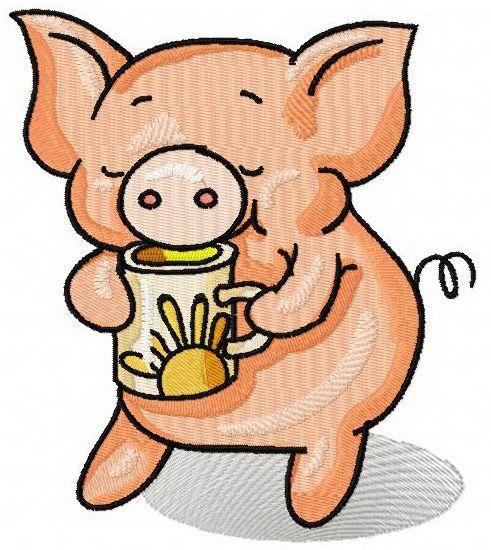 Piglet's Tea Time Machine Embroidery Design. Machine