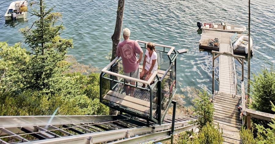 Private incline elevators, which ferry residents from shore to door, are on the rise due to the popularity of waterfront homes and the aging of the luxury homebuying population.