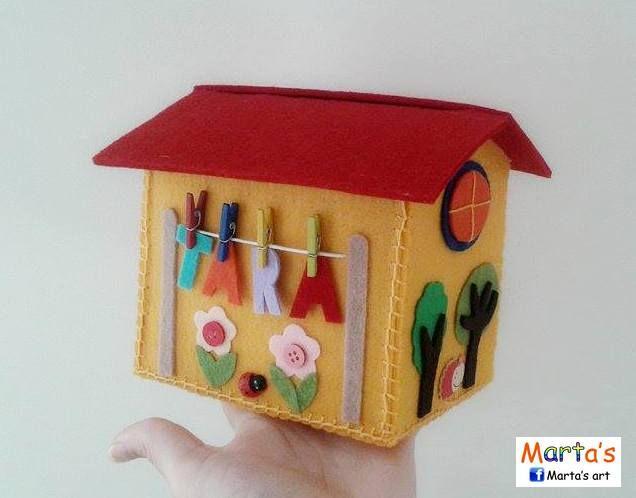 felt house piggy bank
