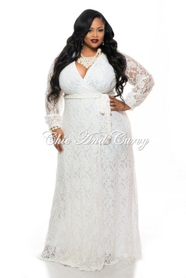 Final Sale Plus Size Long Sleeve Lace Dress W Faux Wrap Top And Tie
