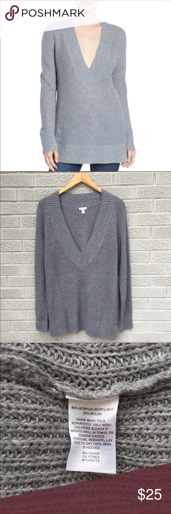 7c5f174fd30bf9 Nordstrom BP deep v neck grey sweater. Worn once. Looks great with leggings  and