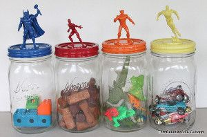 These mason jar crafts are great for organizing a boy's room!