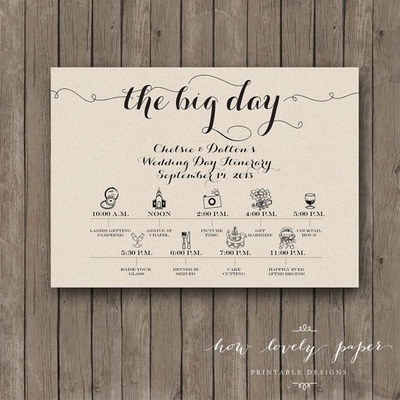 Printable Wedding Day Itinerary Card Wedding By Howlovelypaper