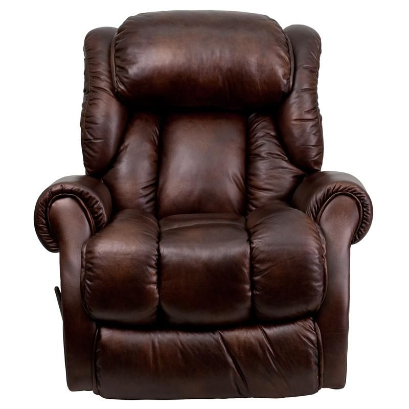 Stylish And Comfortable Chaise Recliner Brown Tobacco Bonded Leather Upholstery High Quality Legget Stylish Recliners Comfortable Chaise Leather Chaise