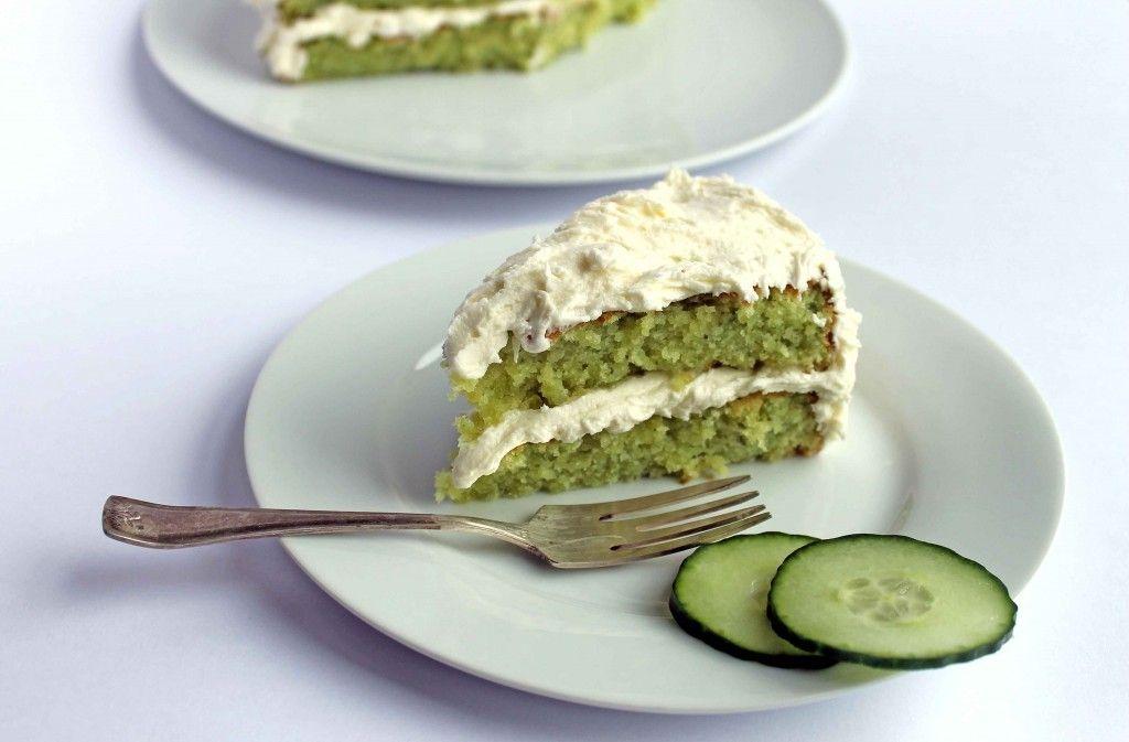 Cake Recipes In Veg: Cucumber And Lemon Cake With Elderflower Icing